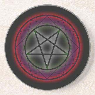 Ein glühender Pentagram Sandstein Untersetzer