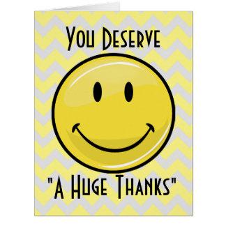 Ein großer großer Lächeln-Riese danken Ihnen zu Karte