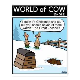 Ein großes Kuh-Entweichen Postkarte