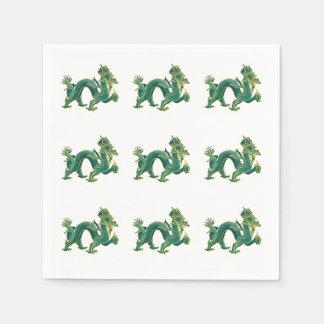 Ein grüner Drache mit Goldordnung Papierservietten