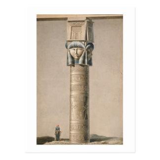 Ein Hathor ging Säule bei Dendarah, Illustration Postkarte