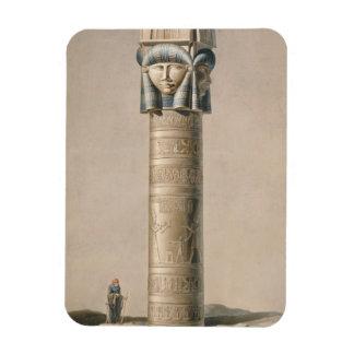 Ein Hathor ging Säule bei Dendarah, Illustration ' Rechteckiger Fotomagnet