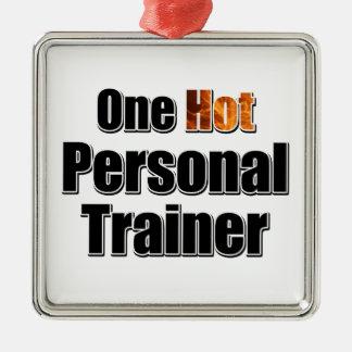 Ein heißer persönlicher Trainer Quadratisches Silberfarbenes Ornament