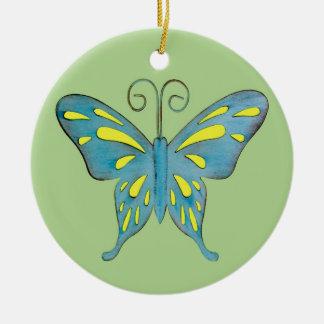 Ein hübscher aquamariner und gelber Schmetterling Rundes Keramik Ornament