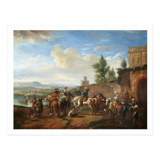Ein Jagd-Party durch ein Landhaus (Öl auf Postkarte