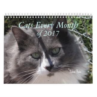 Ein Jahr von Katzen 2017 - fertigen Sie zu Wandkalender