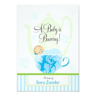 Ein Junge des Baby-Duschen-Tee-Party-| 12,7 X 17,8 Cm Einladungskarte