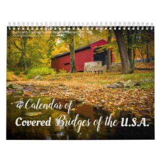 Ein Kalender 2018 der überdachter Brücken im USA