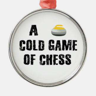 Ein kaltes Spiel der Schach-kräuselnverzierung Silbernes Ornament