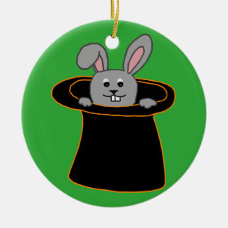 Ein Kaninchen im Hut Keramik Ornament