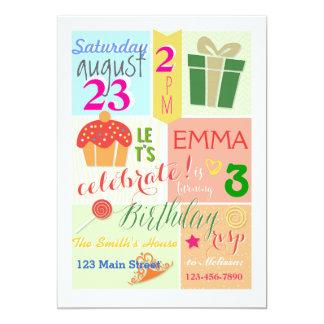 Ein kleiner Kuchen, eine Krone und eine Prinzessin 12,7 X 17,8 Cm Einladungskarte