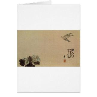 Ein kleiner Kuckuck über einem Hydrangea (Haiga) Karte