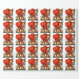 Ein kleines Verpackungs-Papier Rotwild| Vintages Geschenkpapier