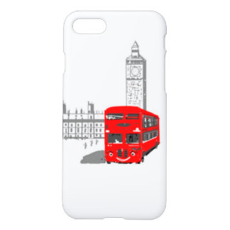 Ein lächelnder London-Bus, Big Ben im Hintergrund iPhone 8/7 Hülle