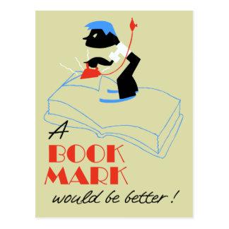 Ein Lesezeichen würde besser retro Art sein Postkarte
