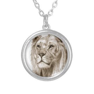 Ein Löwe - ohne den Stolz, der Skizze-Kunst Versilberte Kette