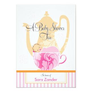 Ein Mädchen des Baby-Duschen-Tee-Party-| 12,7 X 17,8 Cm Einladungskarte