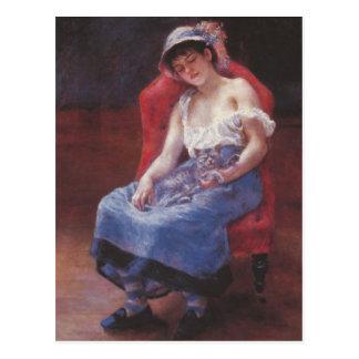 Ein Mädchen schlafend durch Pierre Renoir Postkarte