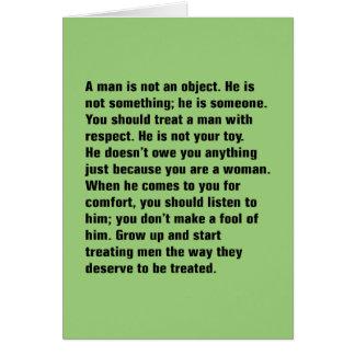 Ein Mann ist nicht ein Gegenstand. Er ist nicht Karte