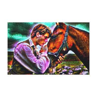 Ein Mann u. sein Pferdestarkes Acrylfarben-Porträt Leinwanddruck