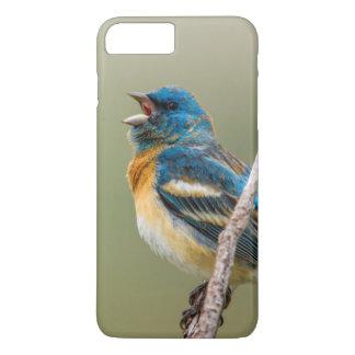 Ein männlicher Lazuli-Flaggen-Singvogel-Gesang iPhone 8 Plus/7 Plus Hülle