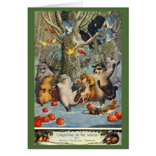 Ein niedliches Weihnachten im Holz Grußkarte