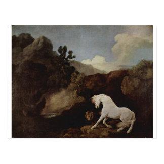 Ein Pferd erschrocken durch einen Löwe durch Postkarte