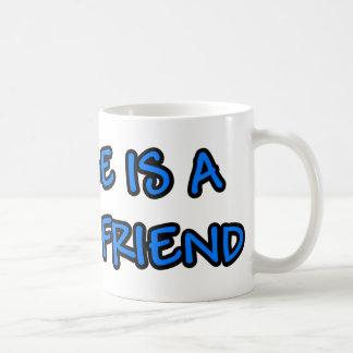 Ein Pferd ist ein stabiles Freundblau Kaffeetasse