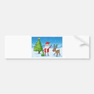 ein Ren und ein Weihnachtsmann Autoaufkleber