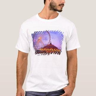 Ein Riesenrad und ein Karussell am Marine-Pier T-Shirt