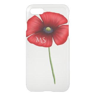 Ein rotes Mohnblumen-Blumen-Monogramm klar iPhone 7 Hülle