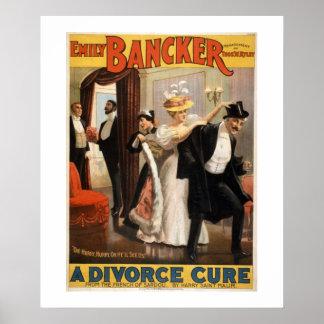 Ein Scheidungs-Heilungs-Vintages Theater-Plakat Poster