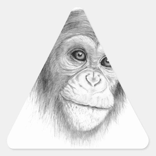 Ein Schimpanse, nicht herum Monkeying Skizze Dreieckiger Aufkleber