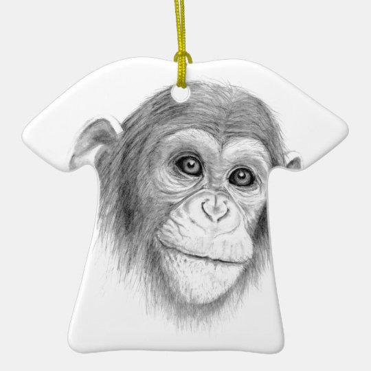 Ein Schimpanse, nicht herum Monkeying Skizze Keramik T-Shirt-Ornament
