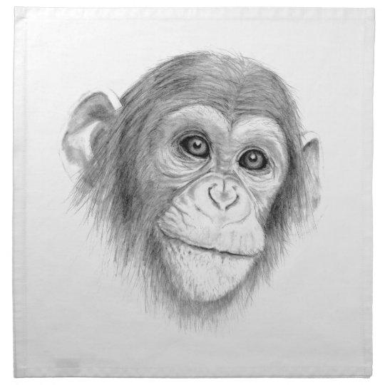 Ein Schimpanse, nicht herum Monkeying Skizze Stoffserviette