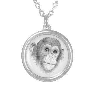 Ein Schimpanse, nicht herum Monkeying Skizze Versilberte Kette