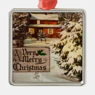 Ein sehr frohe Weihnacht-klassischer Silbernes Ornament
