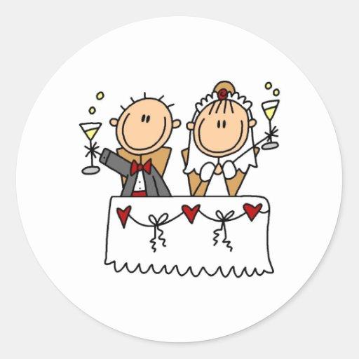 Ein Toast zum Braut-und Bräutigam-Aufkleber