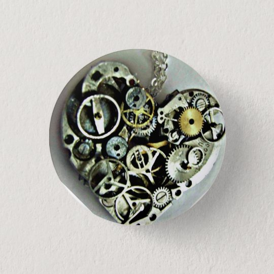 Ein Uhrwerk-Herzknopf Runder Button 3,2 Cm