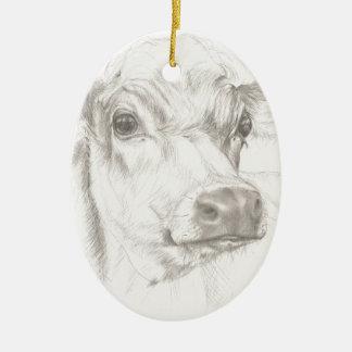Ein Zeichnen einer jungen Kuh Keramik Ornament
