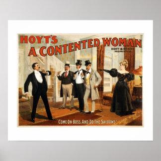 Ein zufrieden gestellte Frauen-Vintages Poster