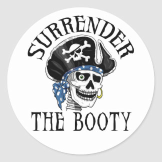 Einäugiger Piraten-Totenkopf mit gekreuzter Runder Aufkleber