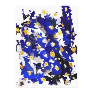 "Eindruck auf Tuch, großem Modell, ""Blue Flowers "" Leinwanddruck"