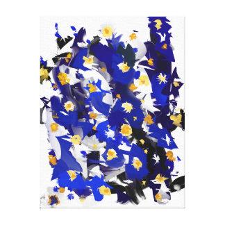 """Eindruck auf Tuch, kleinem Modell, """"Blue Flowers """" Leinwanddruck"""