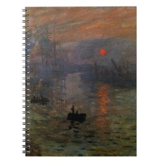 Eindrucks-Sonnenaufgang durch Claude Monet, Notizblock