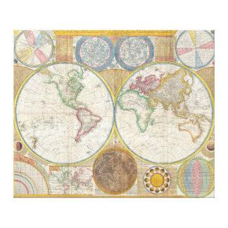 Eine allgemeine Karte der Welt durch Samuel Dunn Leinwanddruck