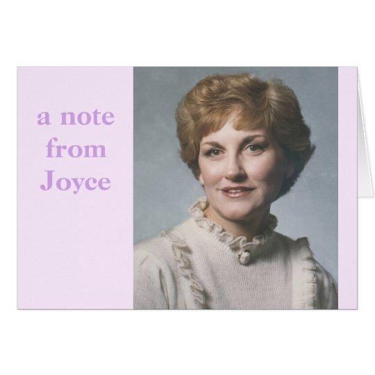 Eine Anmerkung von der Joyce… Anmerkungskarte Mitteilungskarte