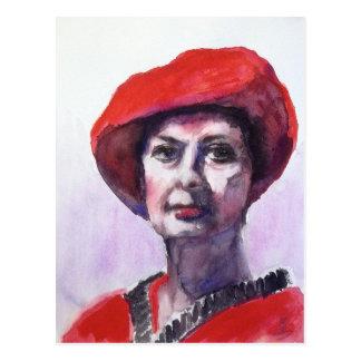 Eine Dame im Rot Postkarten
