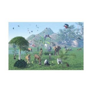 Eine exotische wildes Tier Szene eingewickelte Leinwanddruck