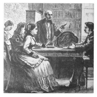 Eine Frau verhandelt mit einem Werksleiter, Fliese